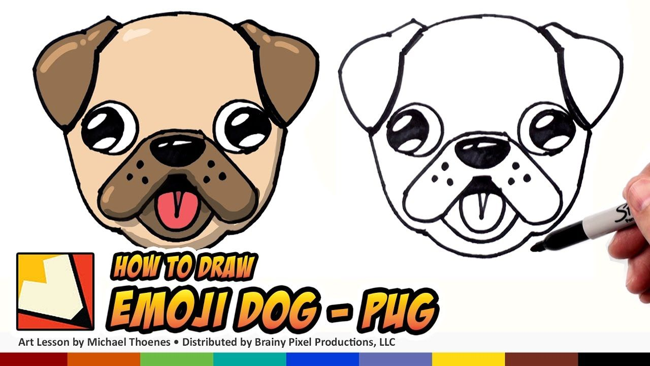 How To Draw A Cute Dog Emoji Pug For Beginners Step By Step Cute
