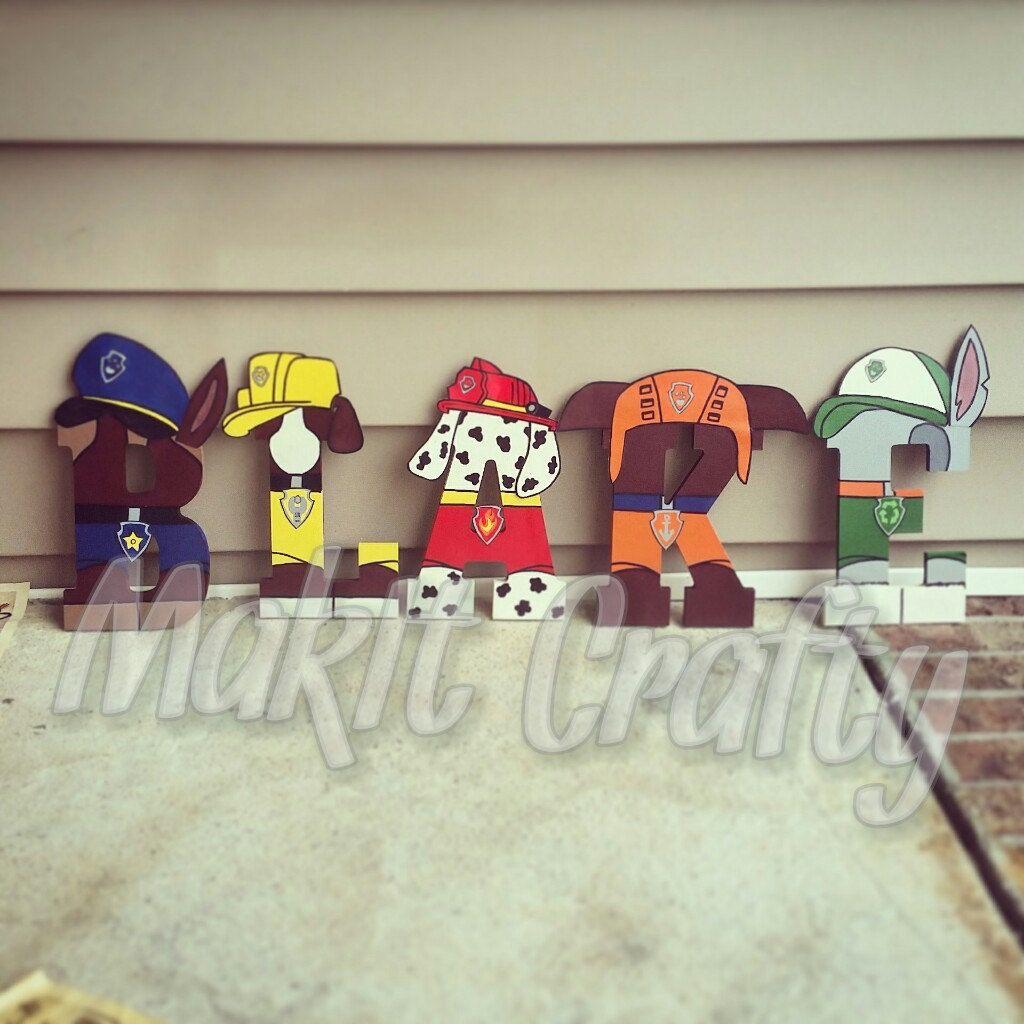 paw patrol letters kids room gift idea paw patrol wooden letters