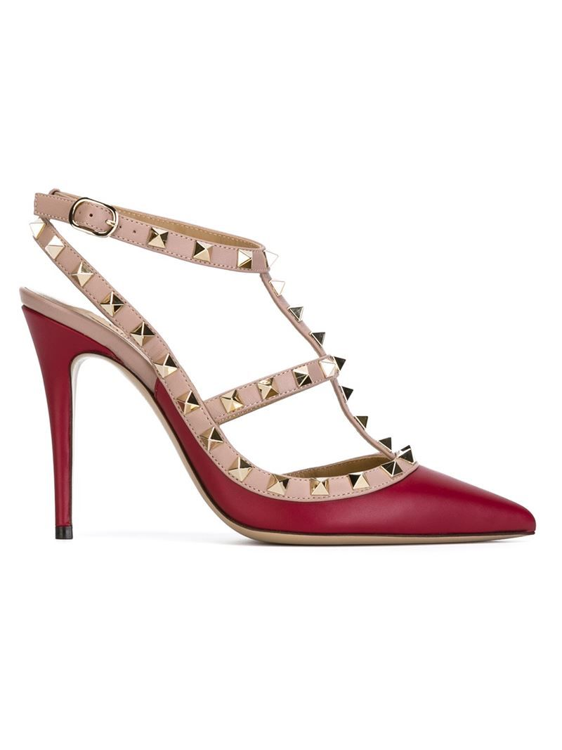 Valentino Woman Stud-embellished Textured-leather Pumps Magenta Size 35 p8gBvyDBF