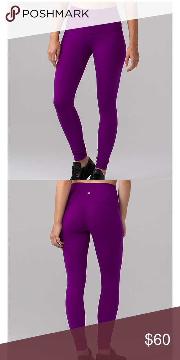 f2d8132712bae High waisted lululemon wunder under leggings Fuchsia hot pink/purple  leggings super comfy size 8 but fit like a 6 good condition worn less than  5 times ...