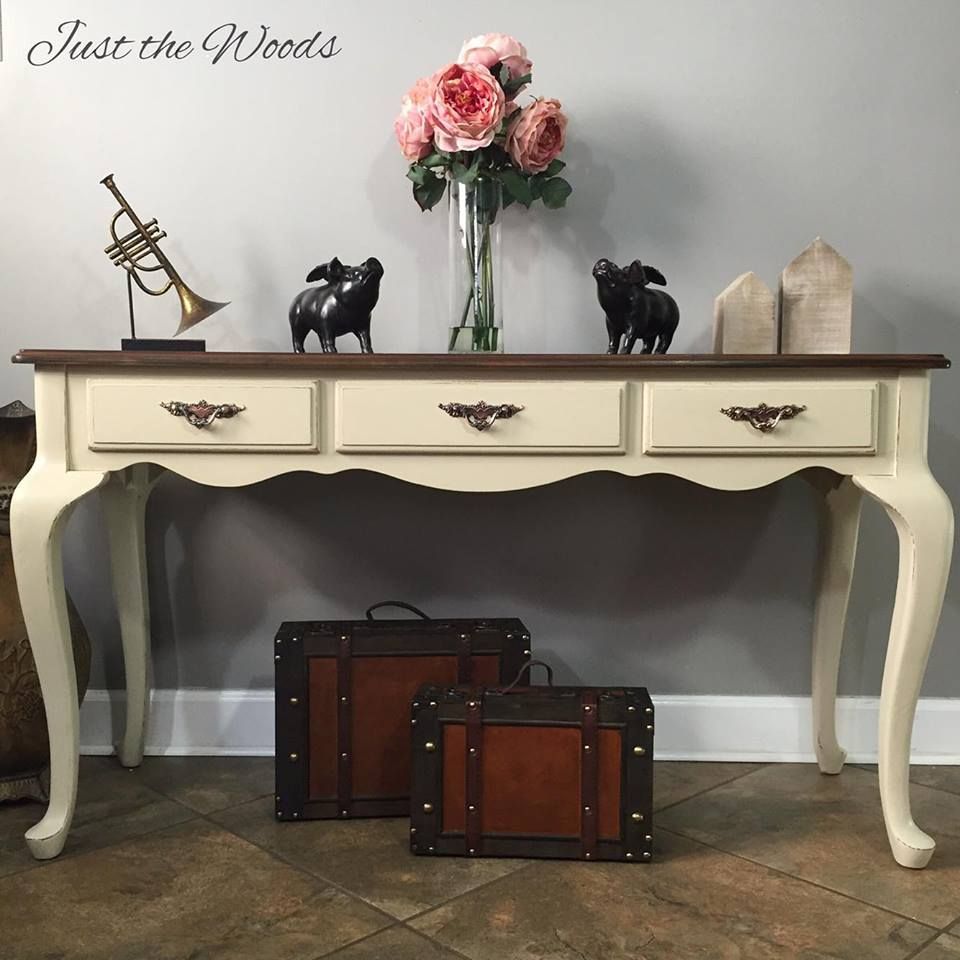 Almond painted sofa table with stencil drawers and stain top hand painted toasted almond sofa table with stain top and stenciled drawers justthewoods geotapseo Image collections
