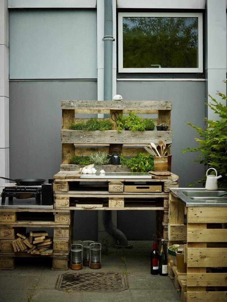 Outdoor Kche aus Paletten selber bauen  Aussenkche