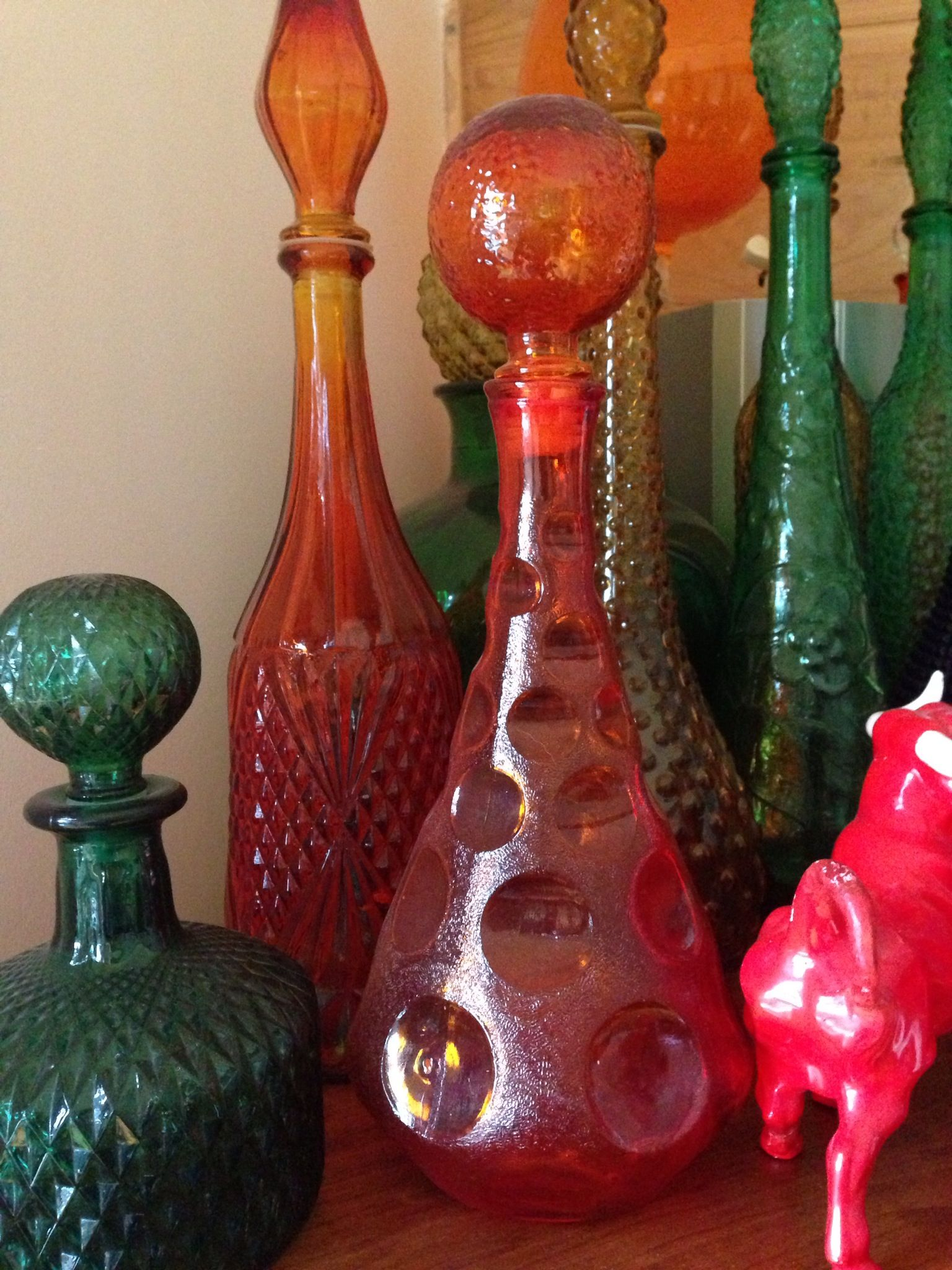 Vintage Glass Genie Bottles Blenko Glass Vintage Bottles Glass Art
