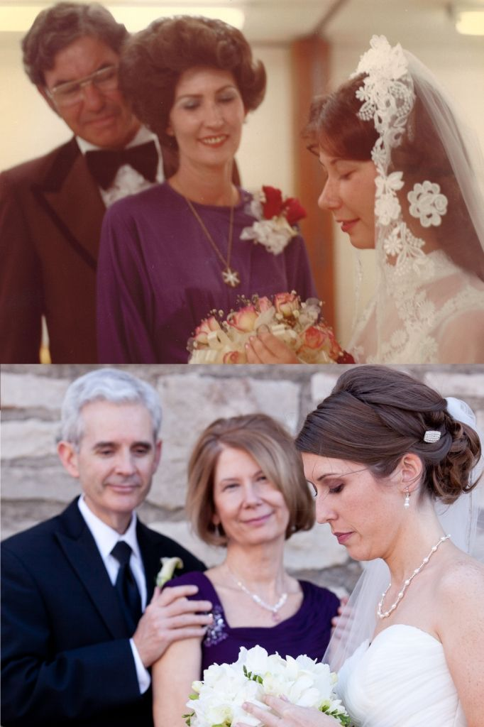 find a photo from your parents' wedding and recreate the same pose! I can do this with the ceremony because my mothers's uncle (Rev) married my parents and is going to marry us!