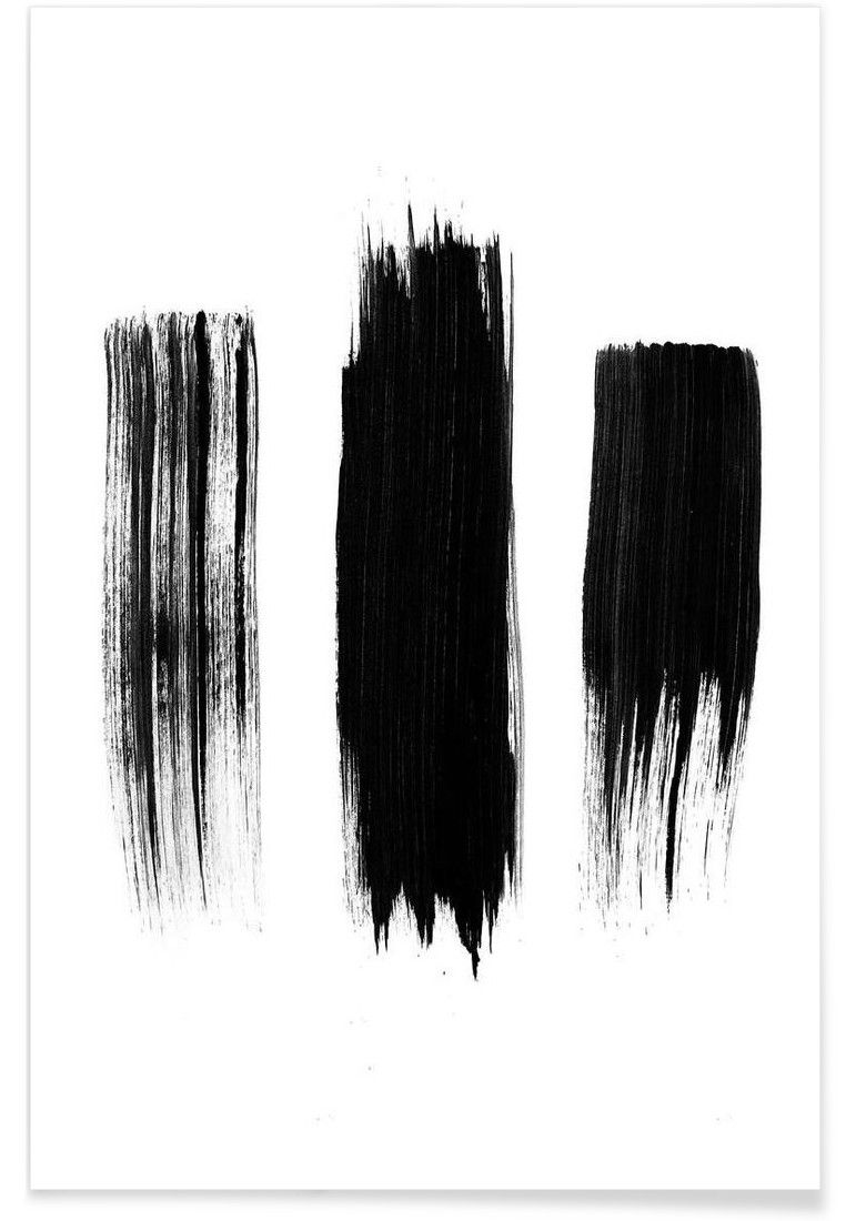 Black and white lines poster painted lines art print by