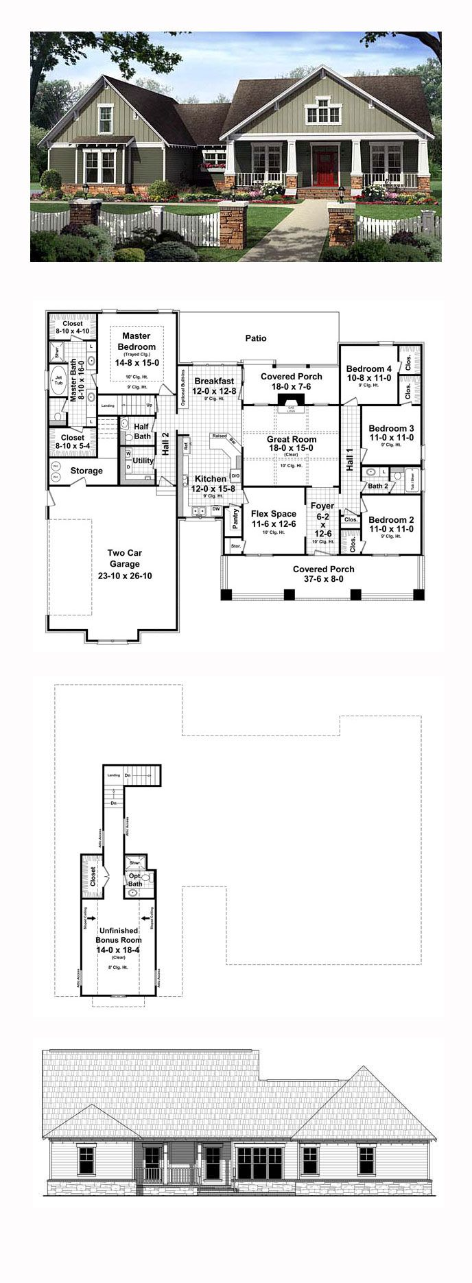 Bungalow House Plan 59207 Total Living Area 2199 Sq Ft: four bedroom bungalow plan