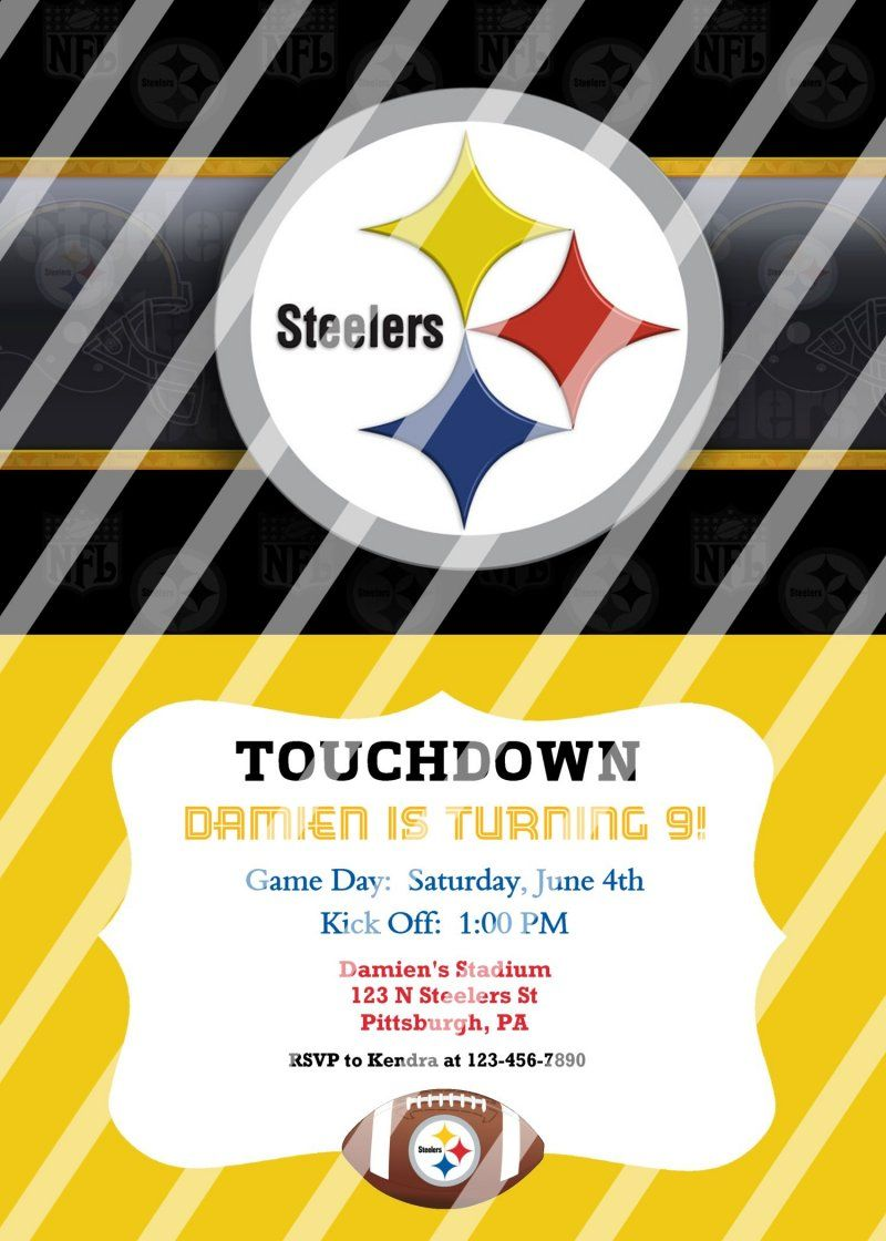 Pittsburgh Steelers Personalized Party Invitation #38 (digital file ...