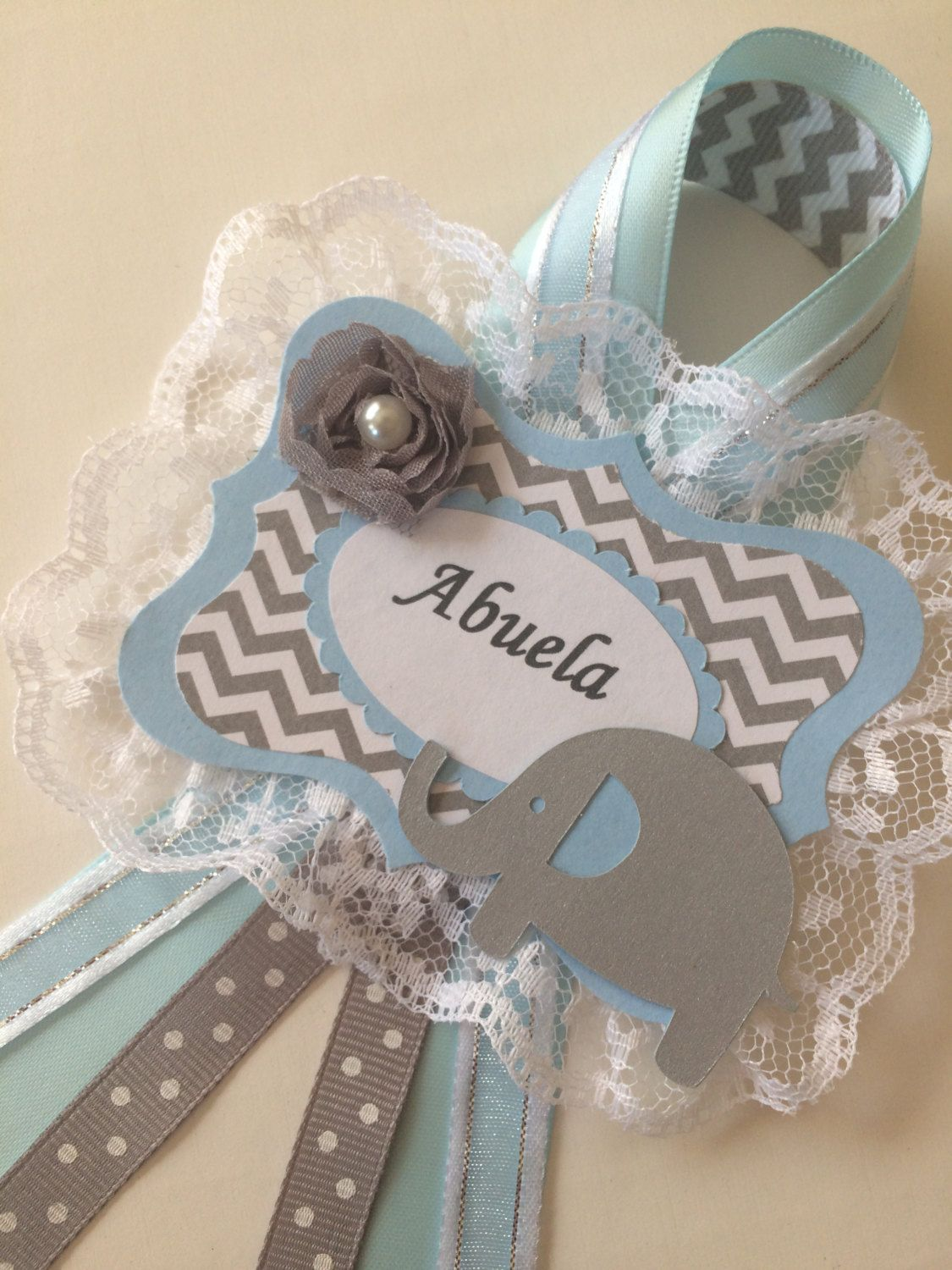 Elephant Baby Shower Grandma To Be Corsage Boy Baby Shower Baby