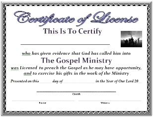 Free certificate of license for church office mr mrs free certificate template certificate of license yadclub Choice Image