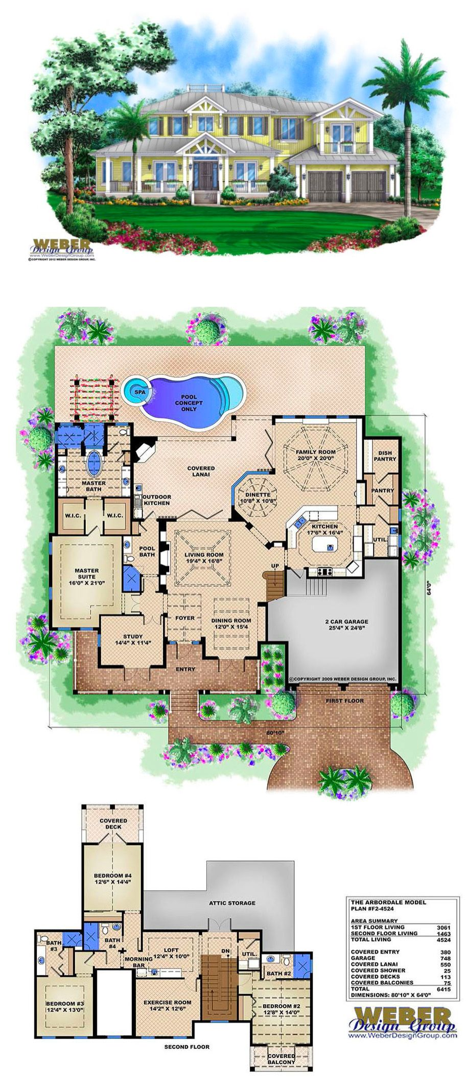 F2 4524   Arbordale   Two Story Waterfront House Plan. 4,524 Square Feet Of  Living Area. 4 Bedrooms, 5 Full Baths, 2 Car Garage.