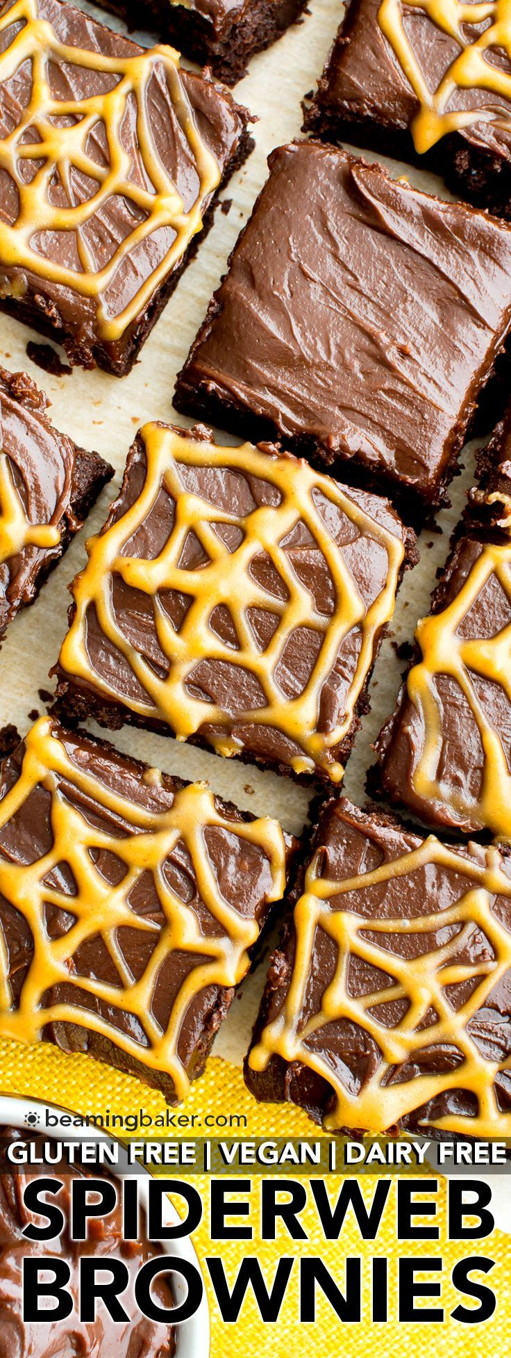 Chocolate Peanut Butter Spiderweb Brownies (V, GF, DF): a spooky Halloween recipe for decadently rich brownies covered in peanut butter spiderwebs! #Vegan #GlutenFree #DairyFree   http://BeamingBaker.com