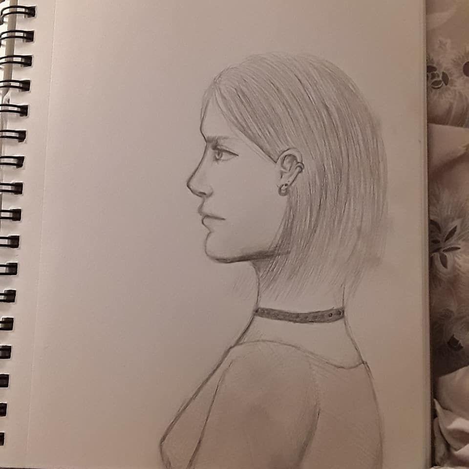 Ear piercing artist  woman women photo sketch choker face realistic earpiercing