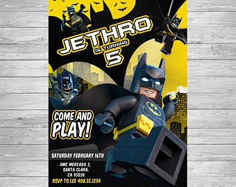 Lego Batman Invitación Cumpleaños De Lego Batman Lego Batman