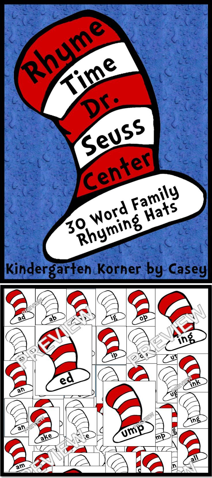 Rhyme Time Center Write and Wipe Word Family Hats Kindergarten 1st ...