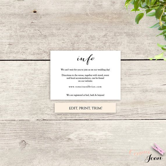Printable Information card template instant by ConnieAndJoan
