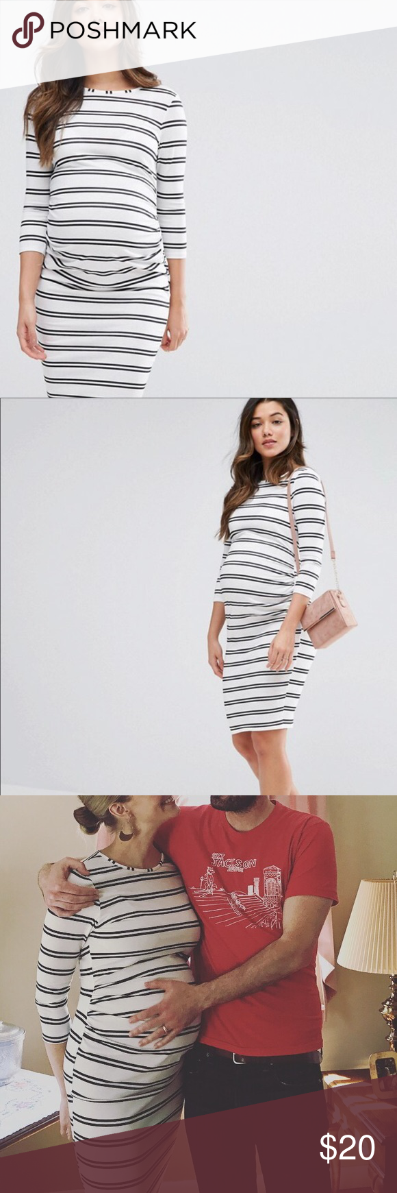 c007ca493f3 ASOS Maternity Twin Stripe Bodycon Dress This dress was by far the most  flattering dress I