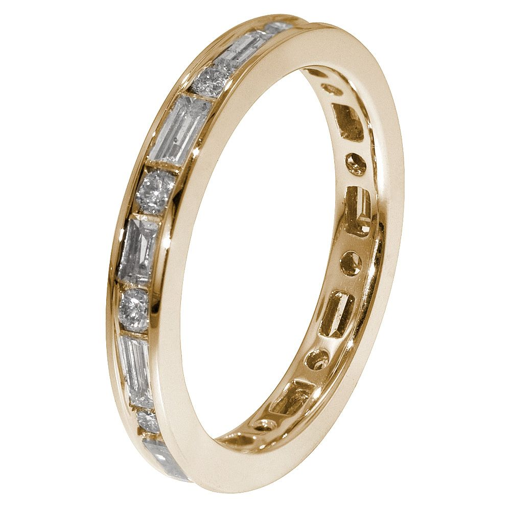 yellow gold eternity band round and baguette diamonds. Black Bedroom Furniture Sets. Home Design Ideas