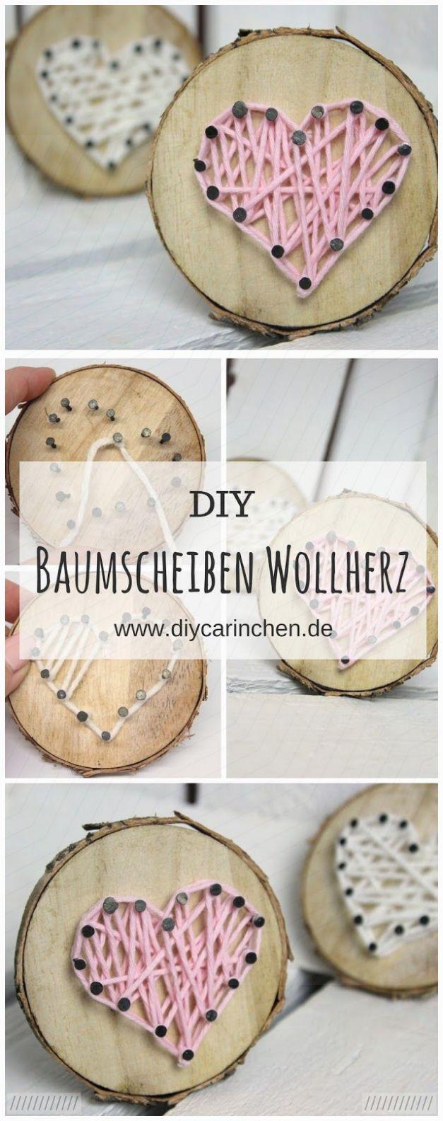 DIY Baumscheibe mit Herz in String Art ganz einfach selber machen #selbstgemachtezimmerdeko