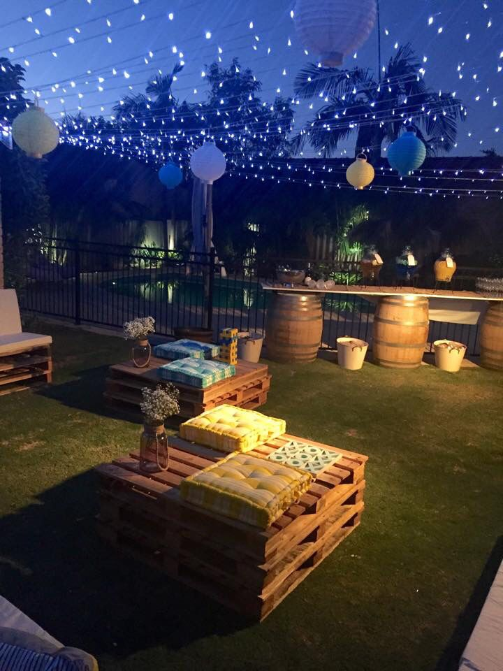 Pallet seats with fairy lights and bar setting | Backyard ...