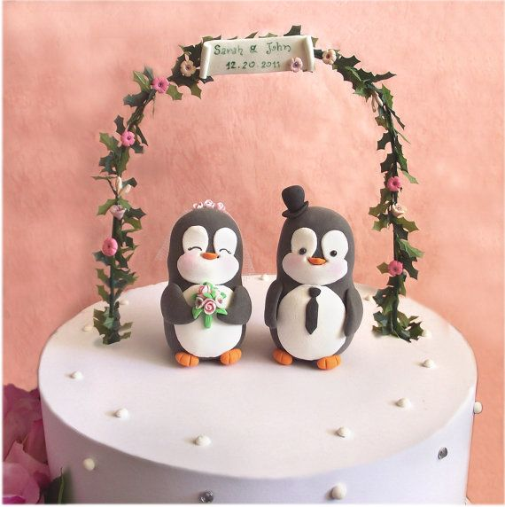 Custom Penguin wedding cake toppers black and by PassionArte, $99.00 ...