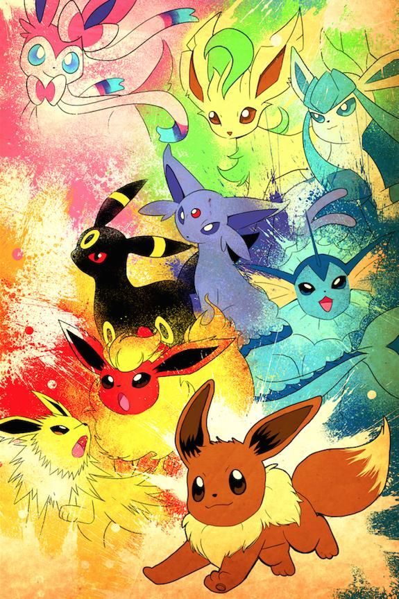 Here S My Eevee Artwork With All Of It S Evolutions