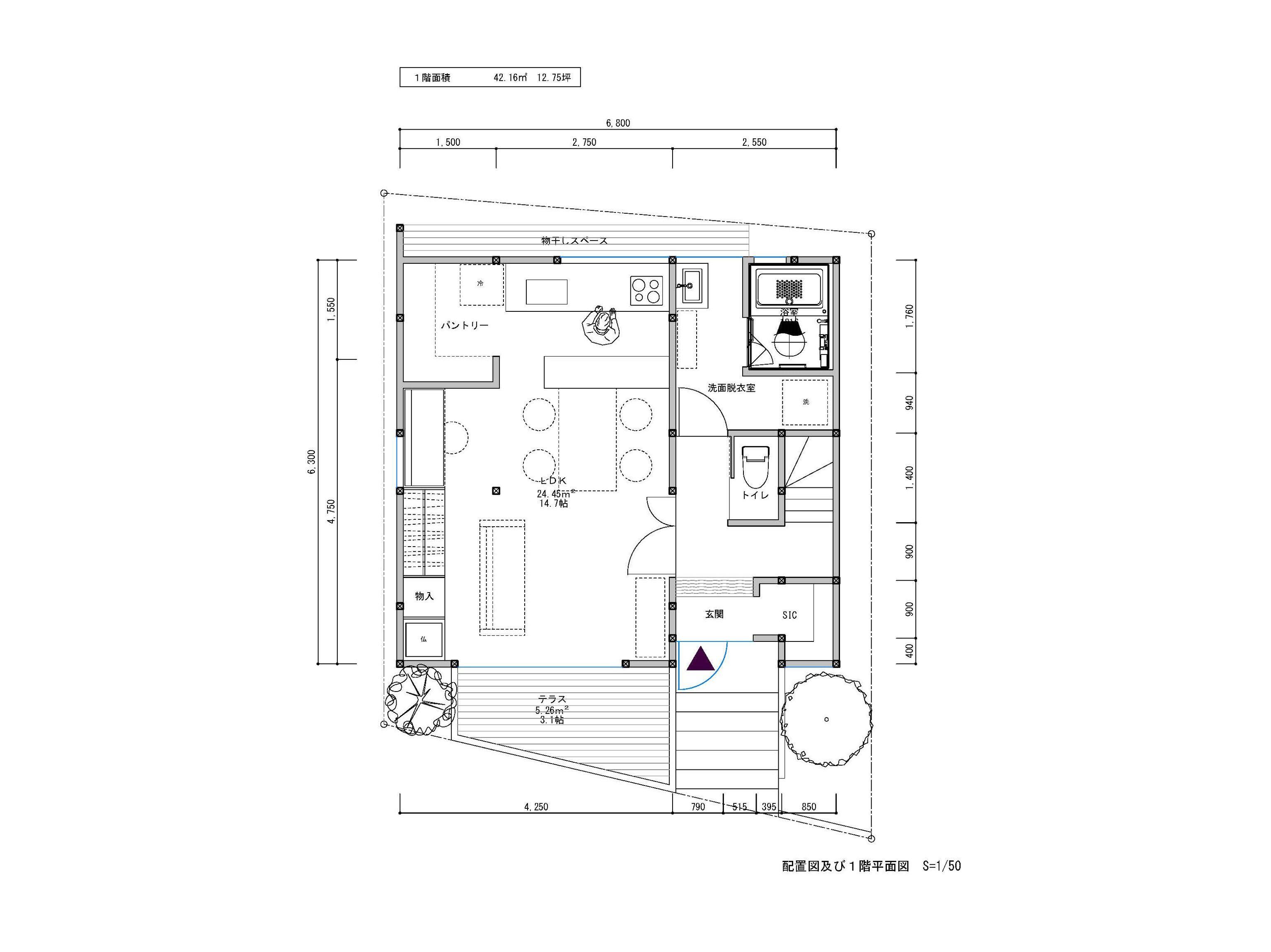 総建築費用 1200万円 税込 画像あり 平面図 建築家