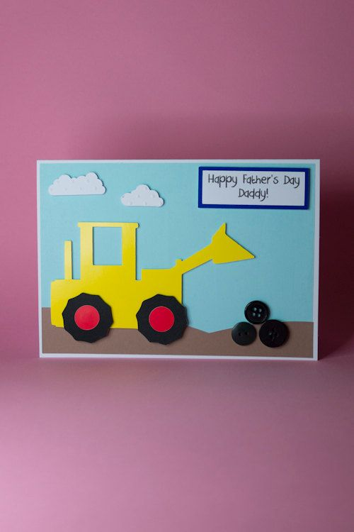 Handmade Digger Tractor Birthday Fathers Day Card Boys Etsy Handmade Birthday Cards Tractor Birthday 1st Birthday Cards