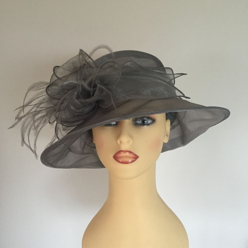 Ladies Wedding Races Mother Bride Hat Silver Grey Chiffon Hat by Marks    Spencer 526362a0f42