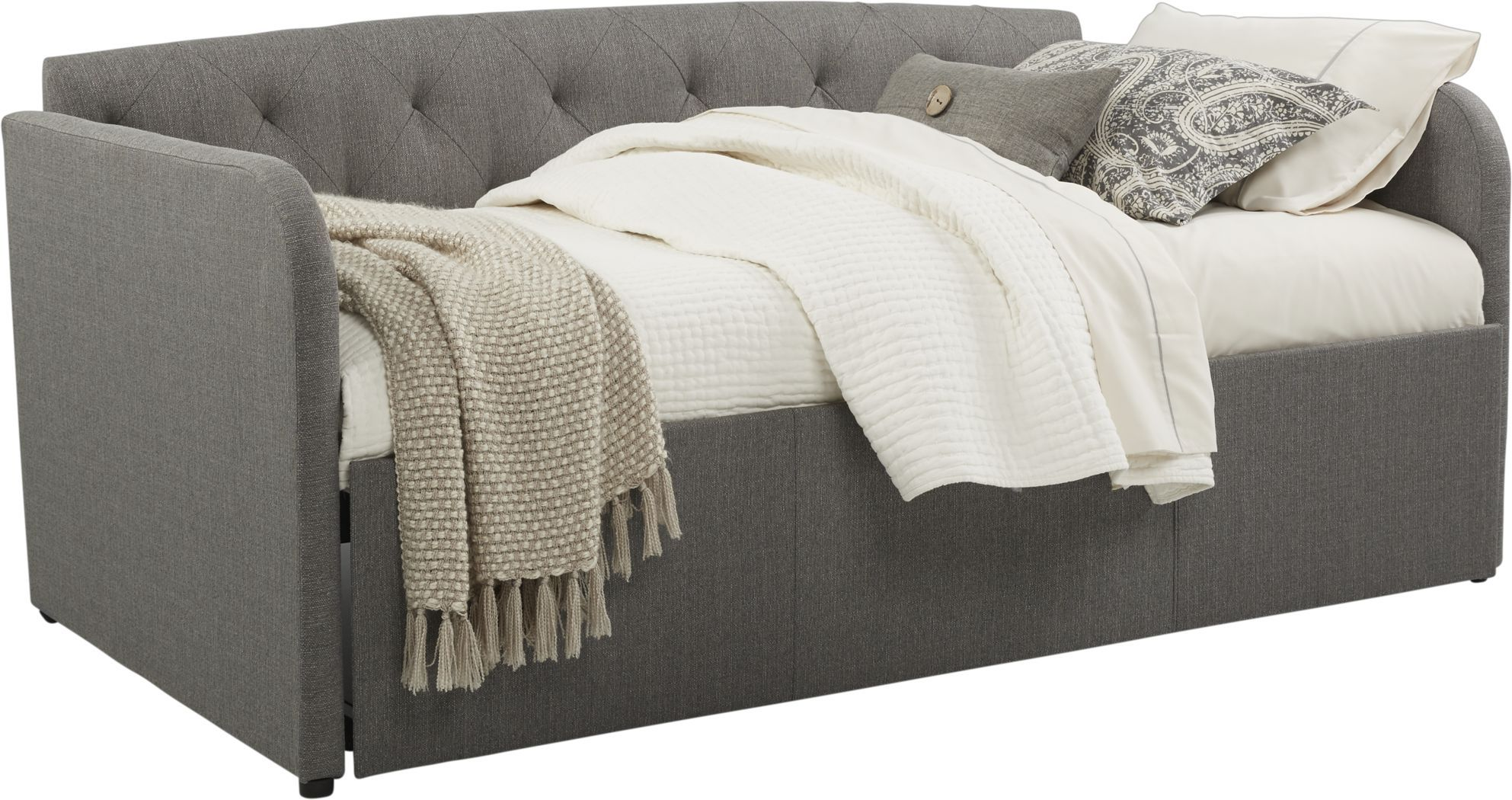 Lanie Gray Tufted Daybed With Trundle In 2020 Daybed With