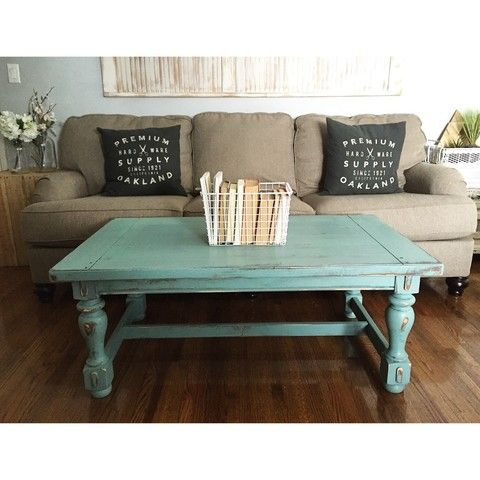 Turquoise Distressed Rustic Wood Coffee Table 48x27x19h Delivery