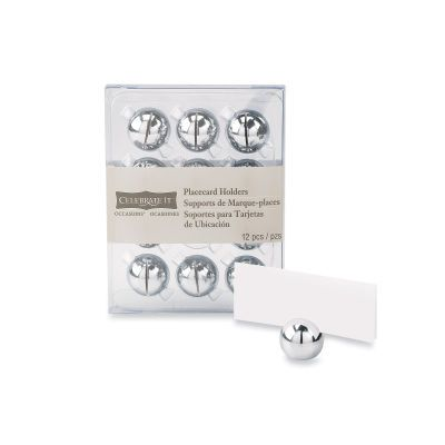Table Numbers Silver Ball Placecard Holders Wedding