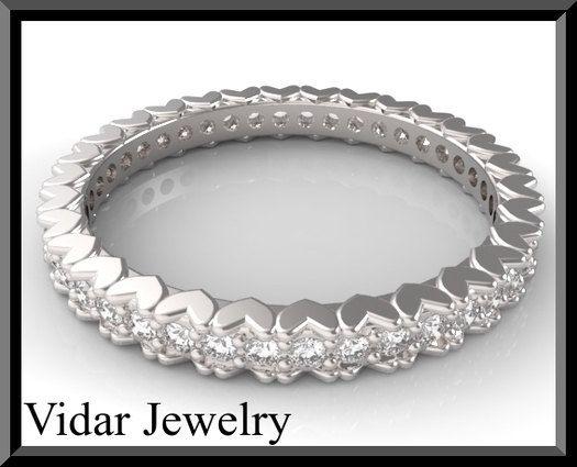 Diamond Wedding Band Eternity Heart Gold