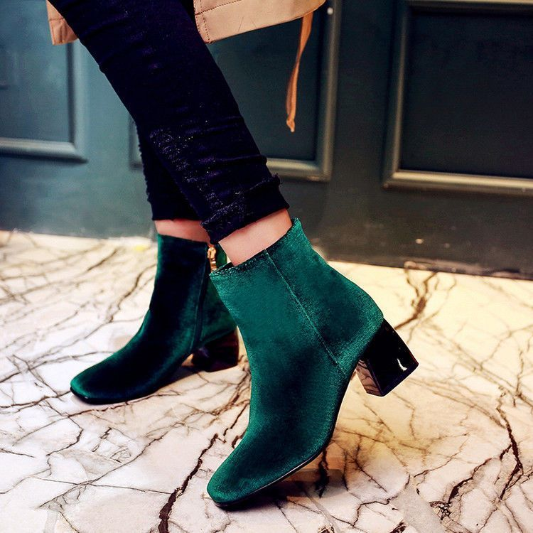 60d2dd1e18ea2 Womens Trend Suede Shoes Side Zipper Block Heels High Comfy Ankle Boots All  Size