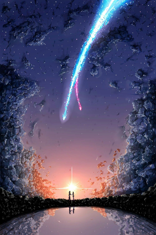 Kimi No Na Wa Iphone Wallpaper Cometa Itomori Anime Scene Your Name Anime Kimi No