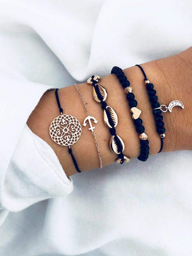 grande remise taille 7 mode attrayante Shell & Anchor Woven Bracelet Set 5pcs in 2019 | Glitterin ...