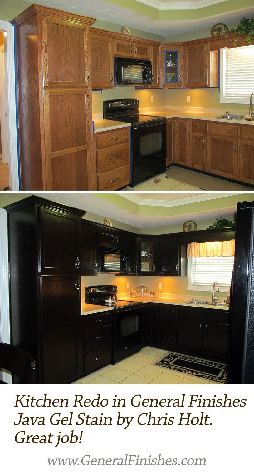 Check Out This Refinished Kitchen In Java Gel Stain Says Chris Holt Java Gel Stains Kitchen Diy Makeover Staining Cabinets