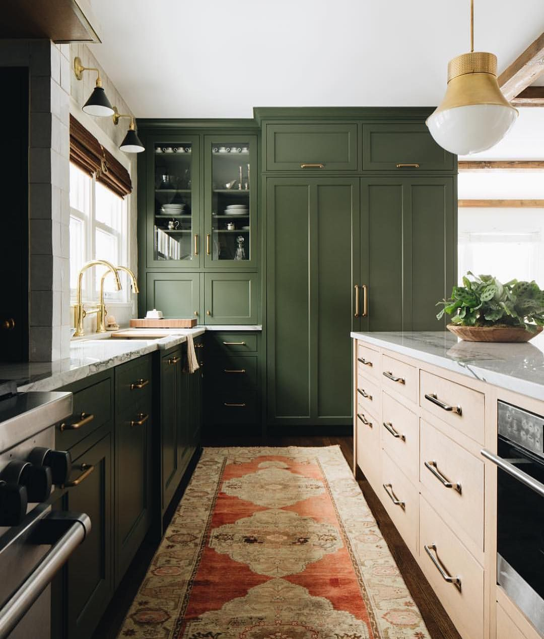 Sophia Rosenberg In Portland On Instagram Can T Stop Eyeing The Green And Blush Thing That S Green Kitchen Cabinets Kitchen Inspirations Kitchen Renovation