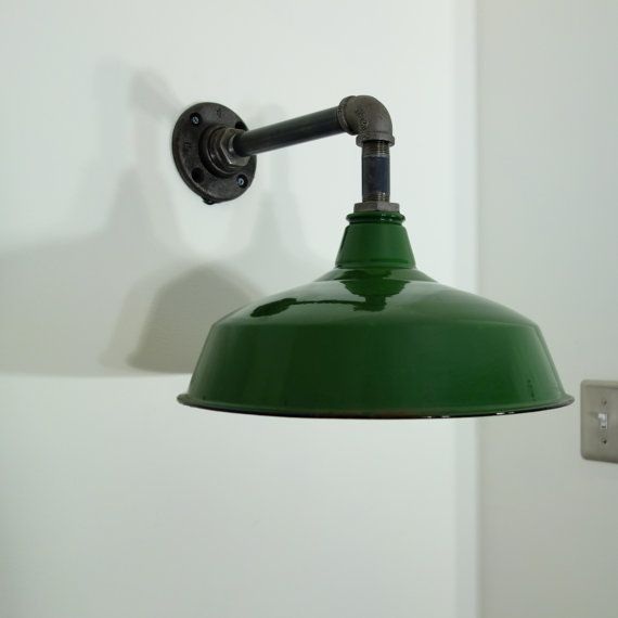 Vintage Green Enamel Barn Sconce Upcycled Steampunk Industrial Style Wall Light Industrial Style Wall Lights Diy Industrial Lighting Diy Lighting