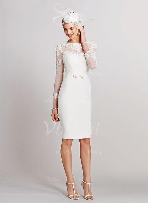 Brautkleider - $129.00 - Etui-Linie U-Ausschnitt Knielang Satin ...