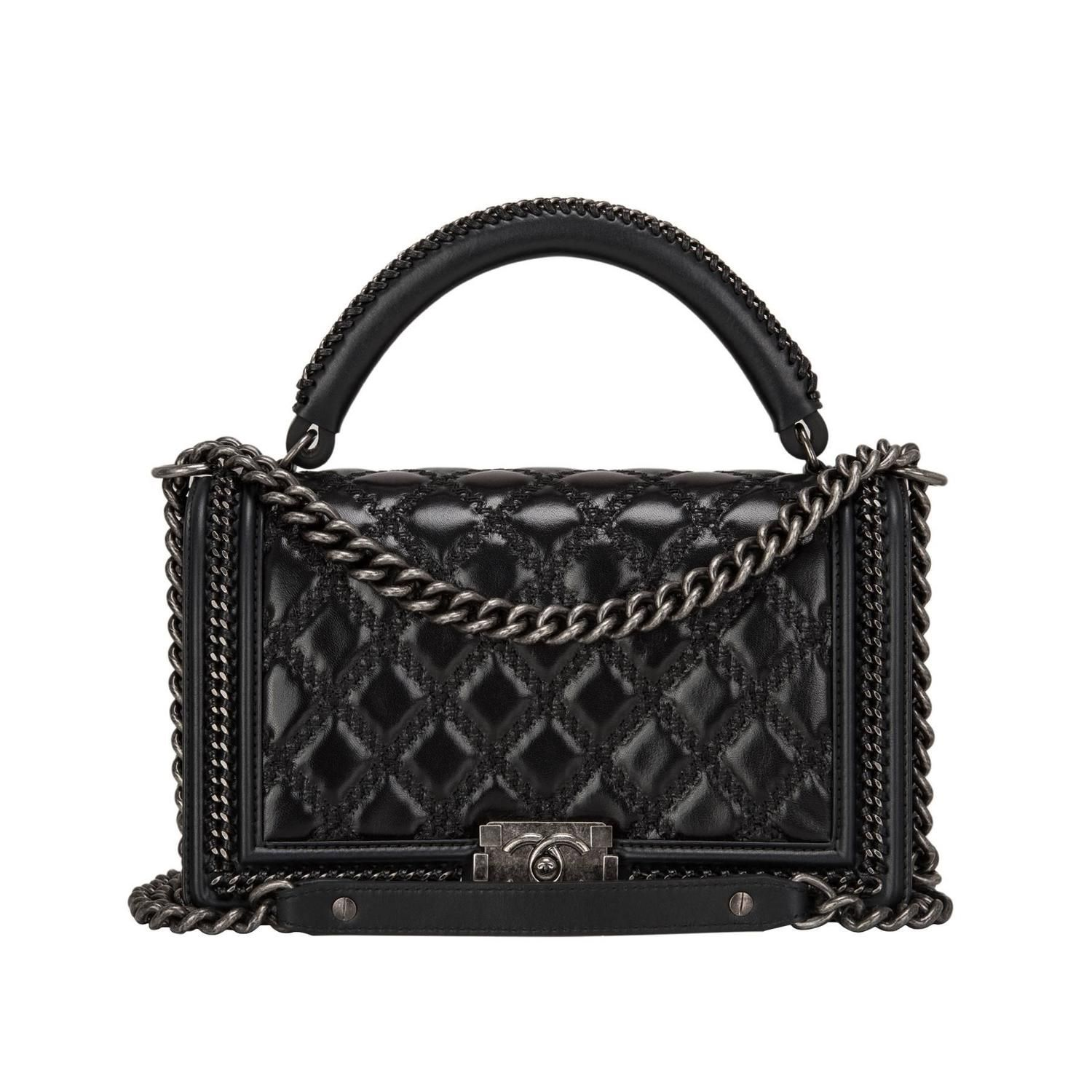 a557a9ce180f Chanel Black Quilted Shiny Goatskin New Medium Boy Bag With Top Handle