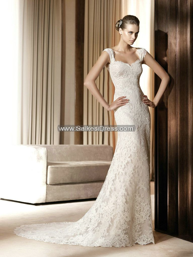 lace wedding dresses with cap sleeves sheath column