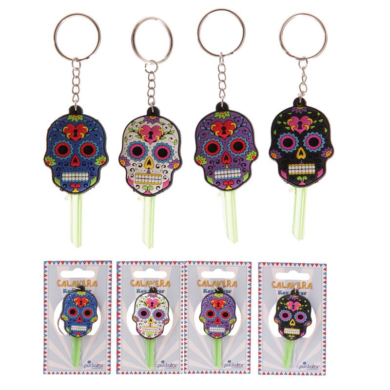 Day Of The Dead Funky Key Cover PVC Keychain Ring Novelty Gift Candy Skull