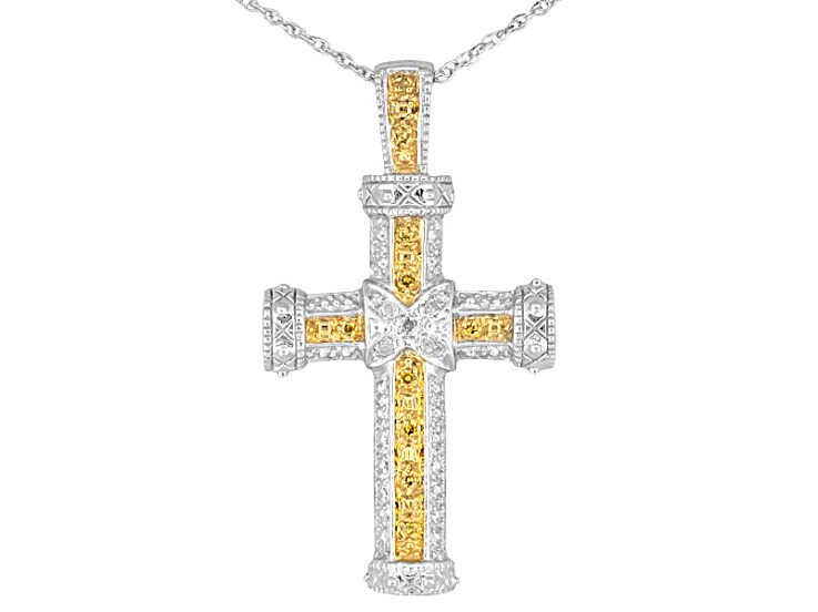 .10ctw Diamond Cross Necklace in Sterling Silver Monture Diamond Collection Tm