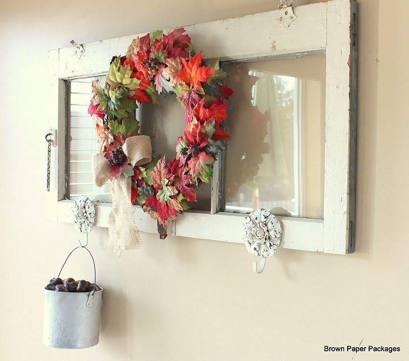 Old window turned hook rack decorated for fall