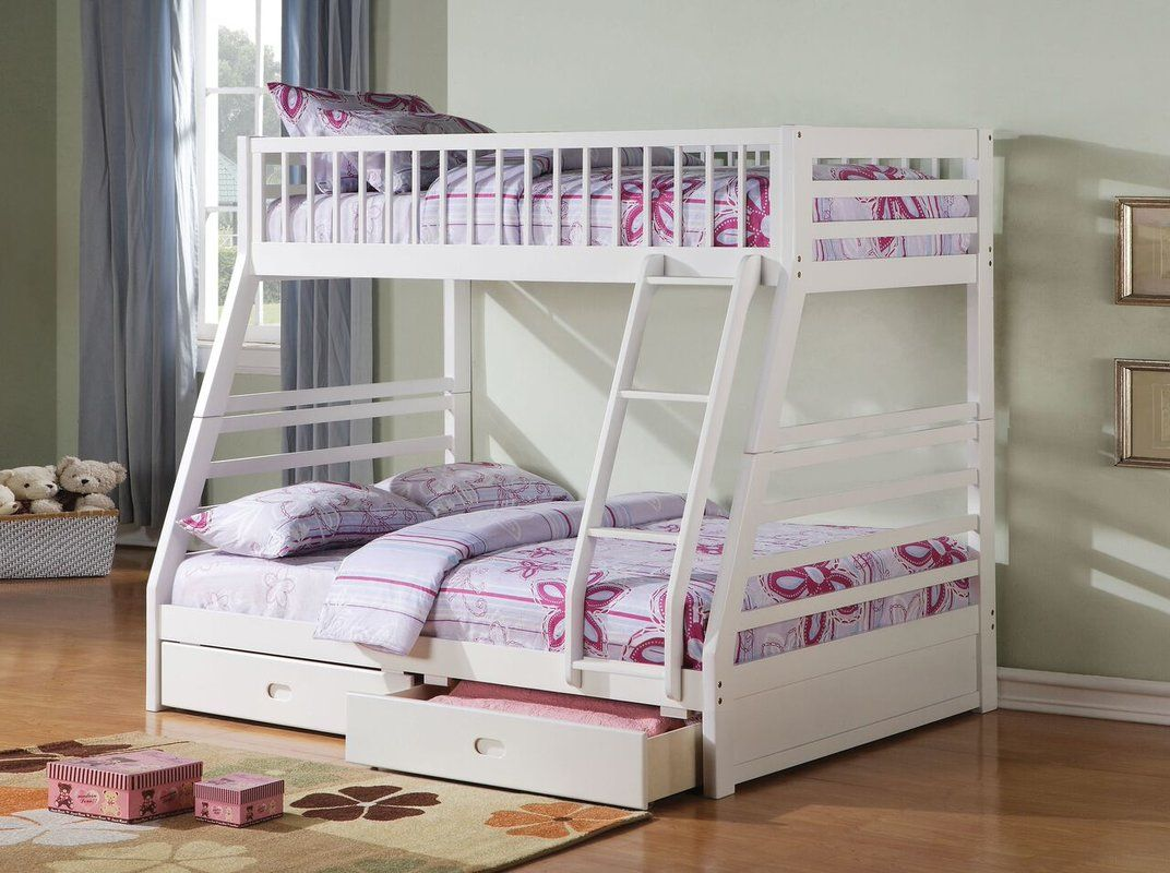 Camo loft bed with slide  Edgin Twin Over Full Bunk Bed  New House  Pinterest  Full bunk beds