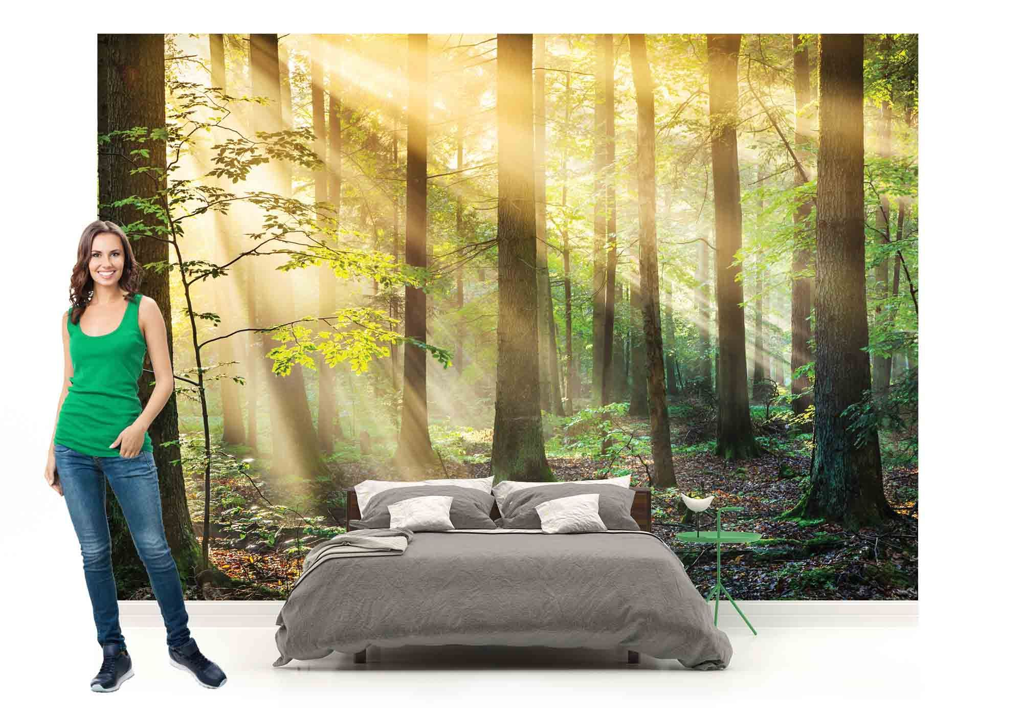 Forests nature flowers photo wallpaper mural | Photo wallpaper ...