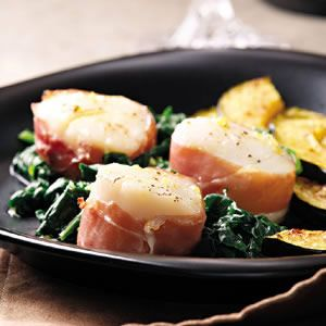 Prosciutto-Wrapped Scallops with Spinach  #seafood #recipe