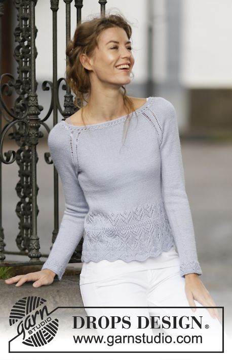 """Knitted DROPS jumper with raglan and lace pattern in """"BabyAlpaca ..."""