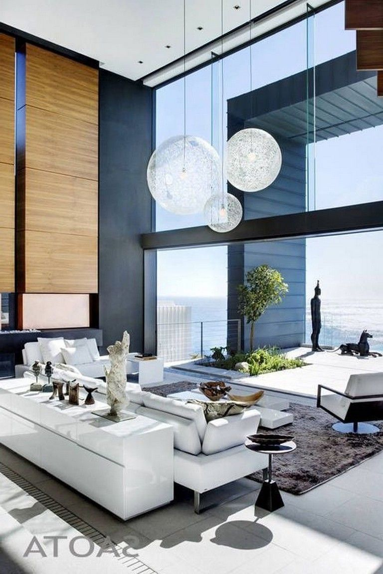 47 Stunning Cozy Living Room Design Ideas Livingroomideas Livingroomdecorations Li High Ceiling Living Room Modern Houses Interior Living Room Decor Modern