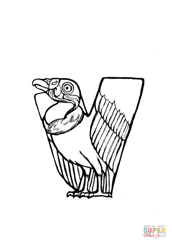 V is for Vulture coloring page from Animals Alphabet